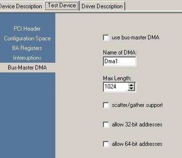 RapidDriver Online Help - Settings for bus-master DMA